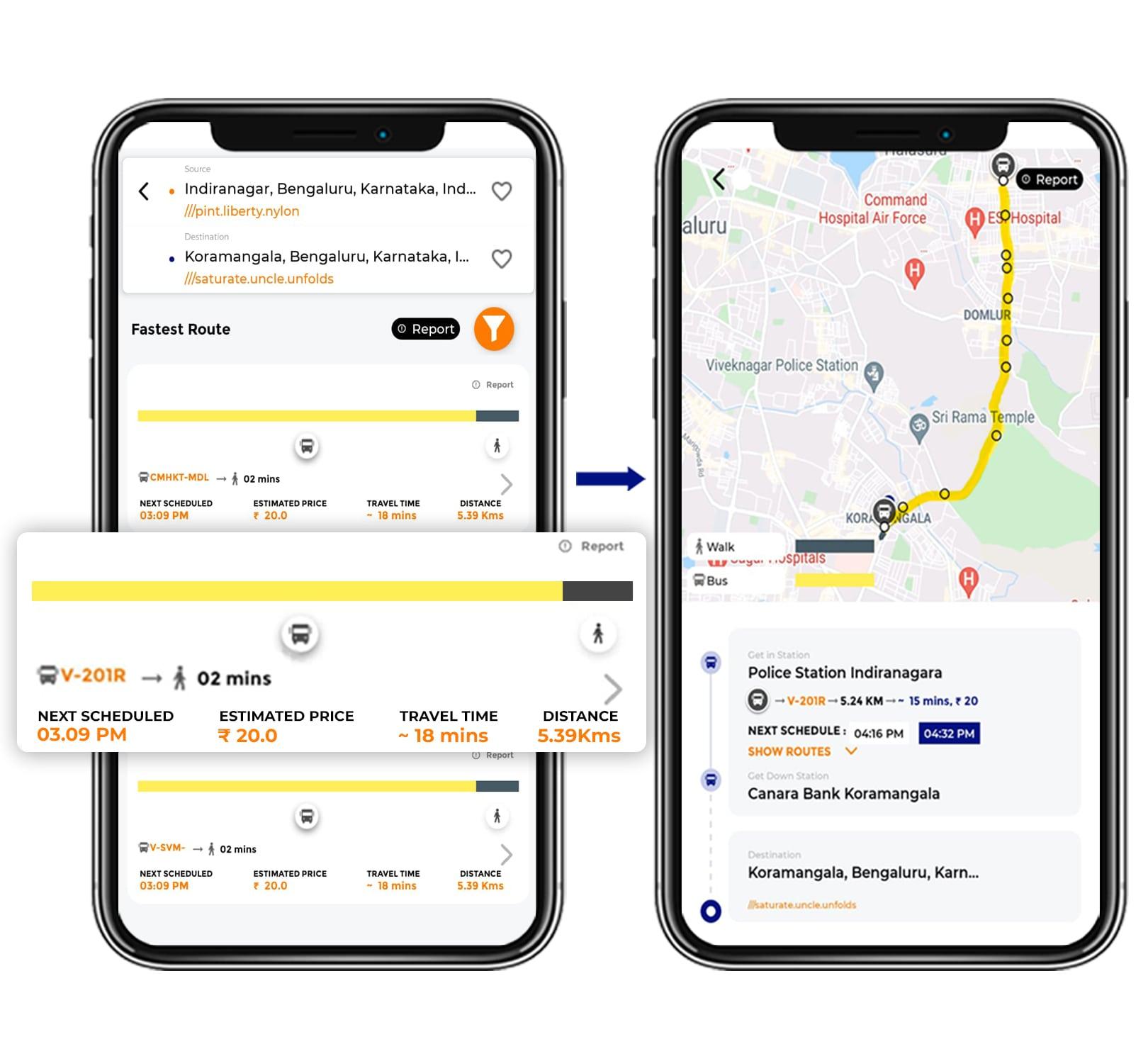 Tummoc app, Tummoc, Public transportation, Indiranagar, Kormangala
