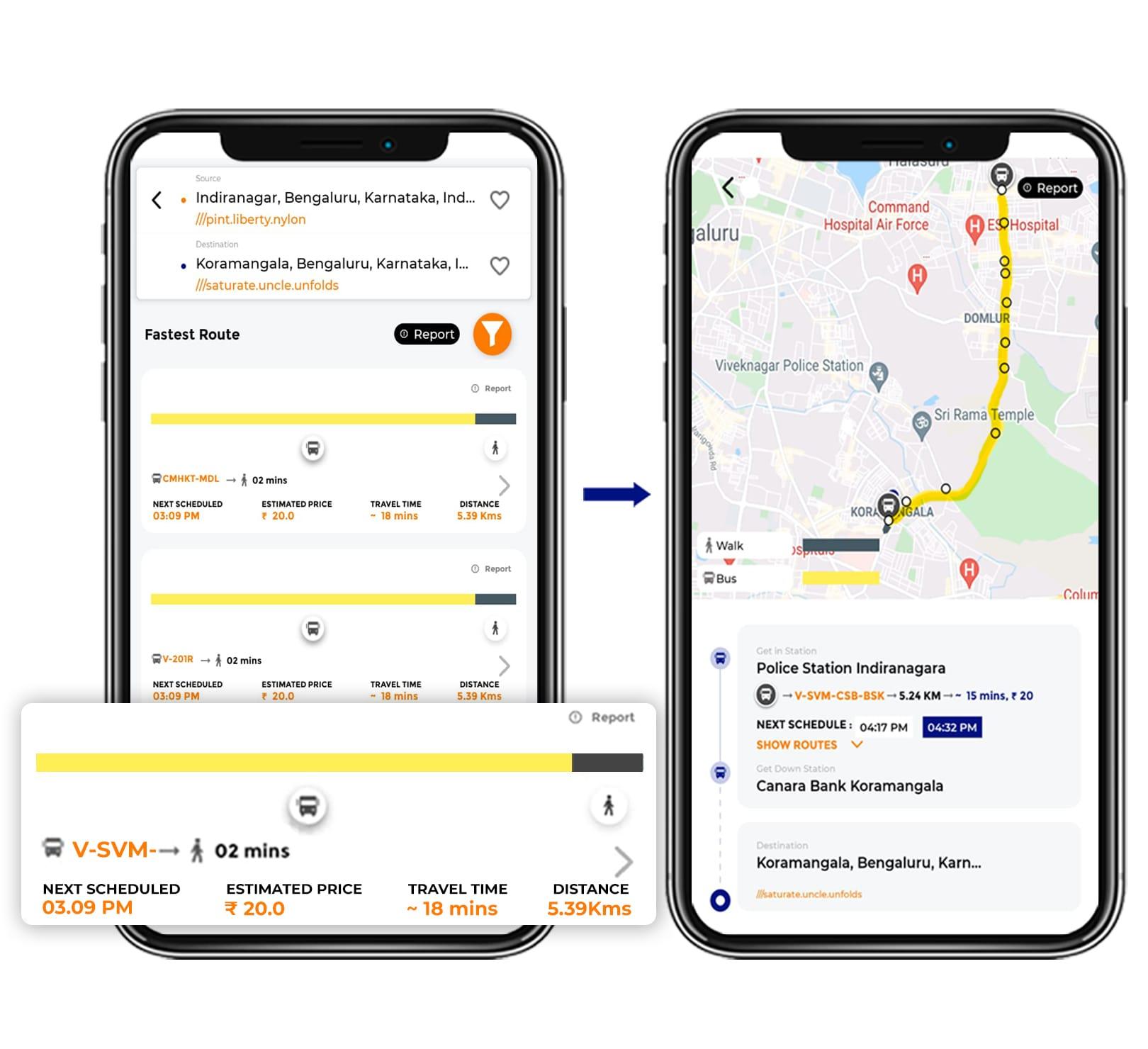 Tummoc, Tummoc app, Public transportation, Indiranagar, Kormangala