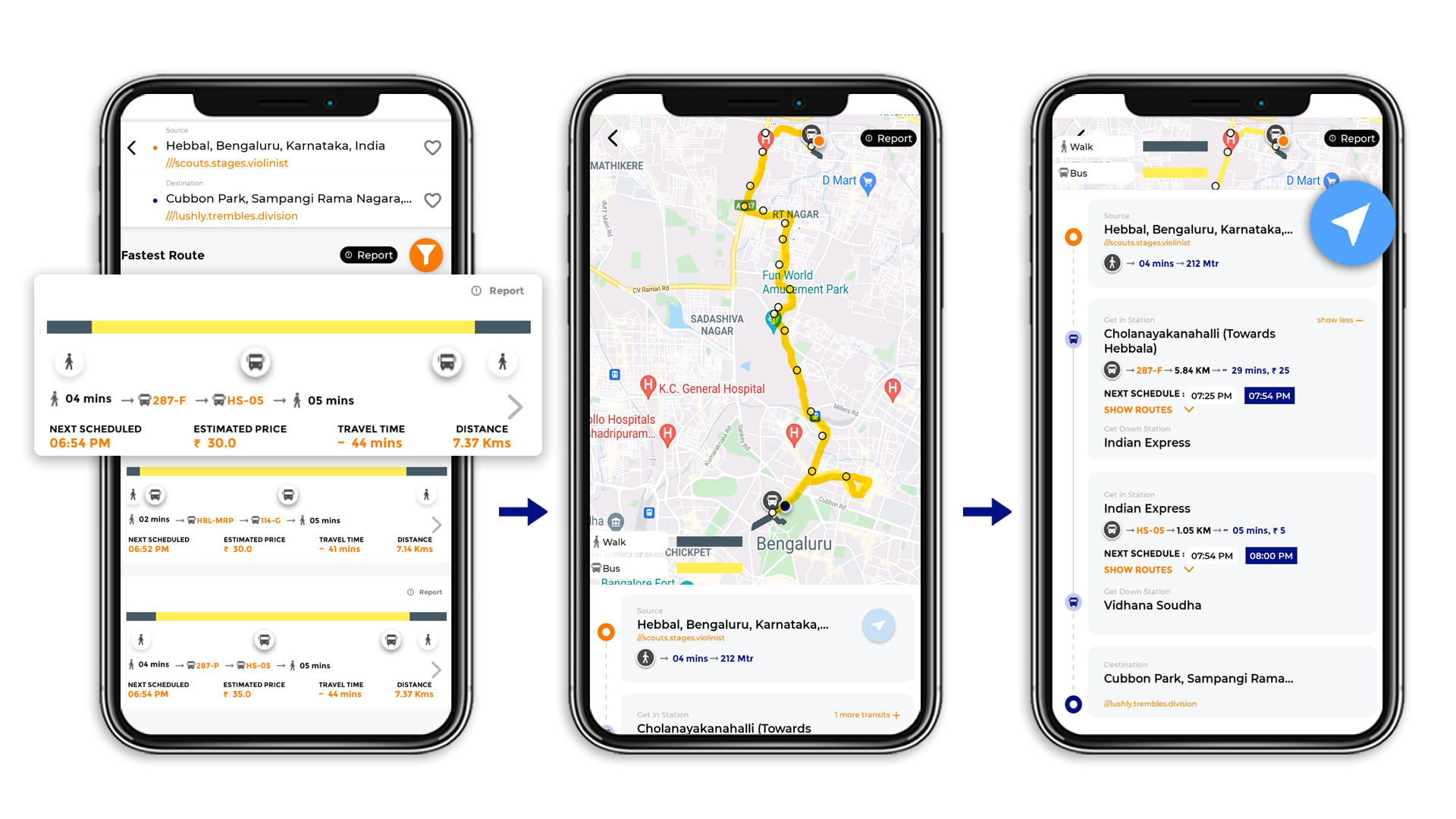 Tummoc, Tummoc app, Public transport information, Hebbal, Cubbon park