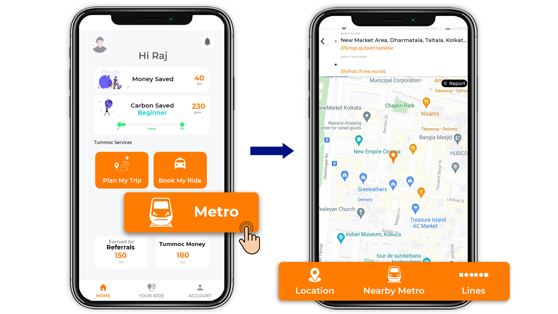 Tummoc, Tummoc App, Kolkata, Public Transport Information, Book Ride