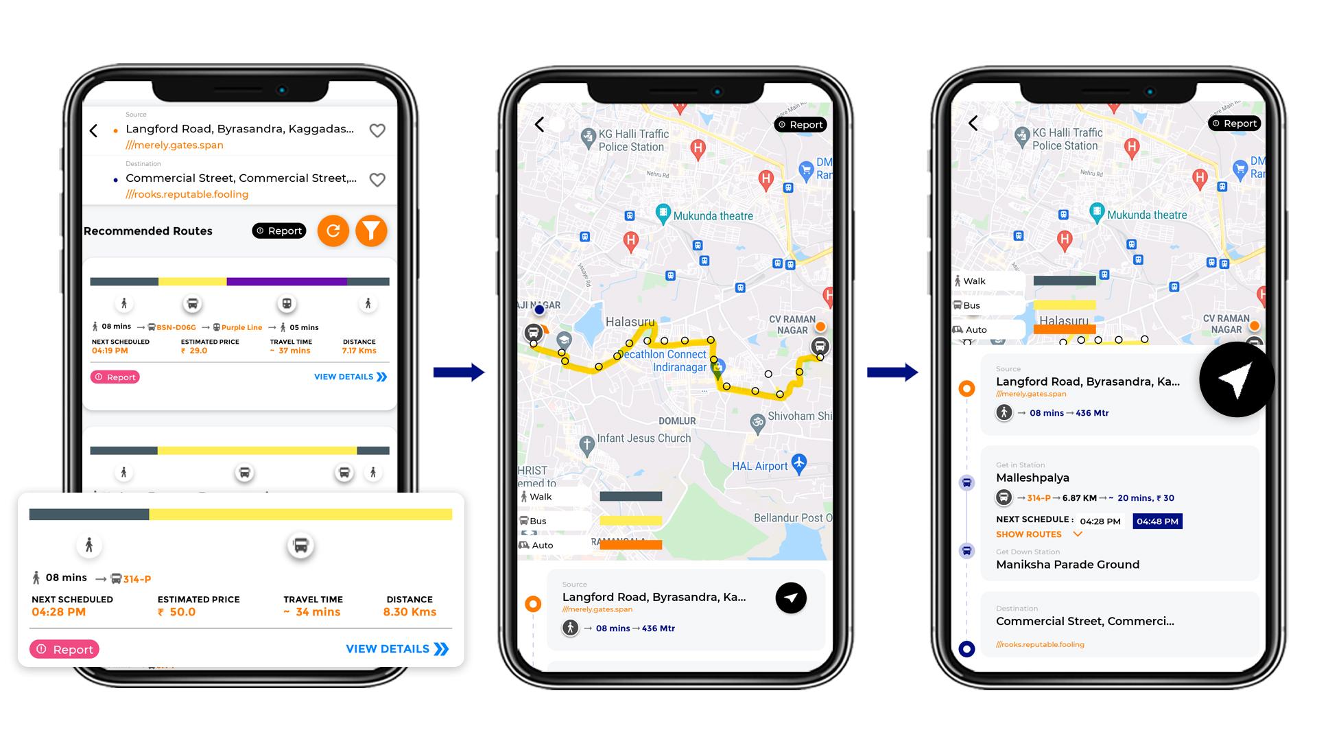 Tummoc, Tummoc app, Public Transport Information, Commercial street, Byrasandra