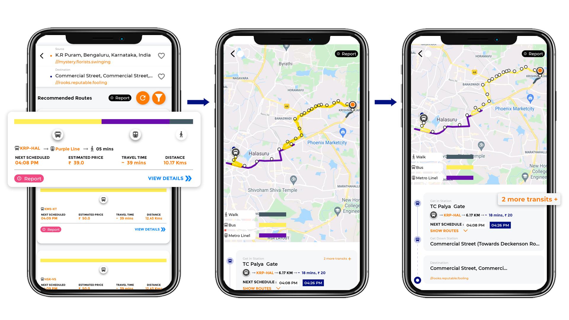 Tummoc, Tummoc app, Public Transport Information, Commercial street, KR Puram
