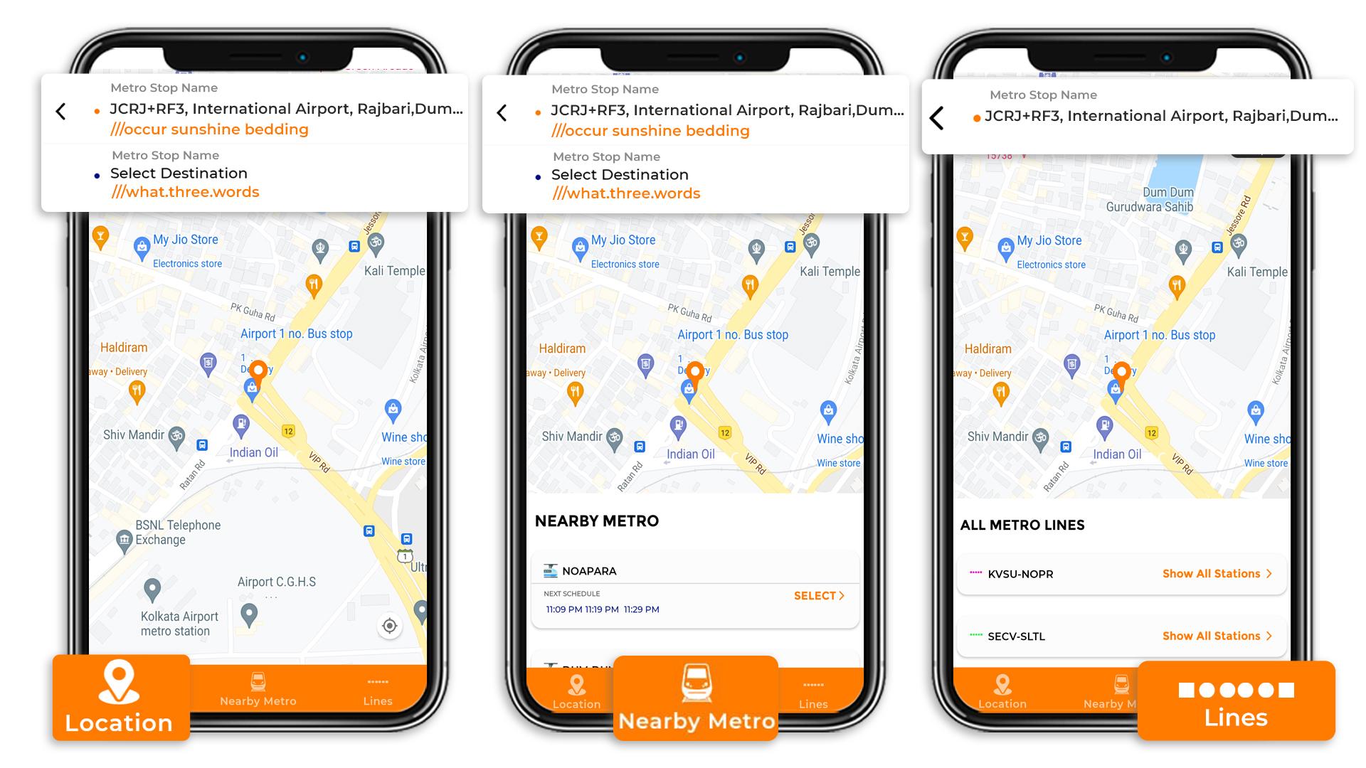 Kolkata Metro Search Three Options
